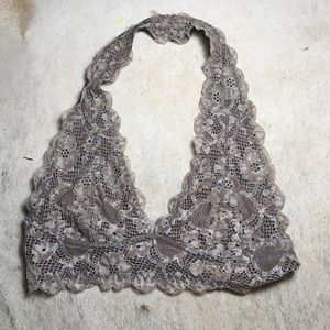 Free People Galloon Lace Halter Bralette RARE grey